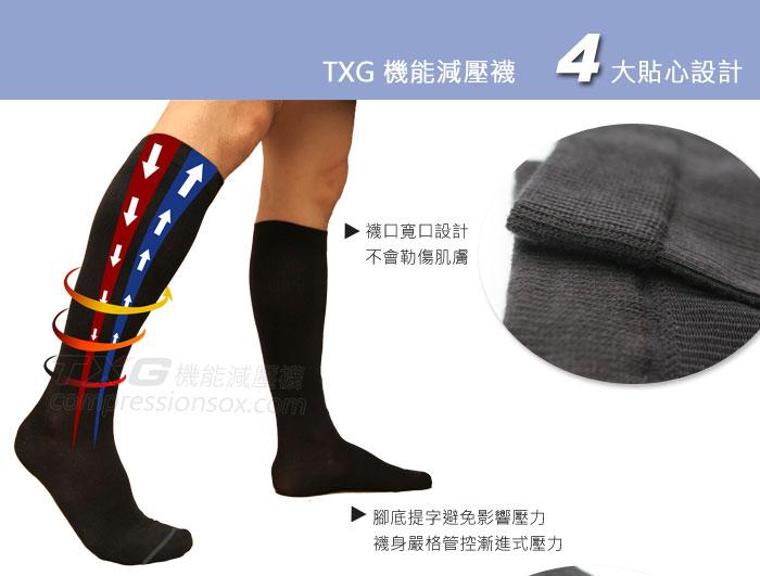 TXG 機能減壓襪 4大貼心設計,襪口寬口設計不會勒傷肌膚,減壓襪、TXG、TXG機能減壓襪、壓力襪、彈性襪